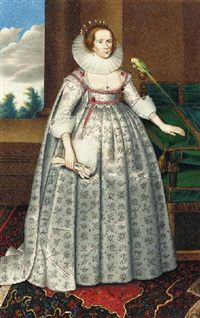 portrait of elizabeth countess of suffolk standing beside a parrot by george perfect harding
