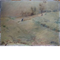 winter landscape; ship at sea (2 works) by luis graner y arrufi