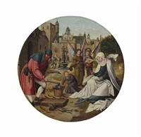 the holy family in a garden by master of the antwerp adoration