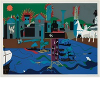 the fall of troy (from odysseus suite) by romare bearden