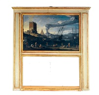 paysage lacustre animé de bateaux devant une forteresse, une pyramide et au loin un volcan by adriaen van der cabel