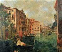 venetian canal scene by a. rodetti
