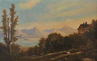 landscape with mountains and river by george loring brown