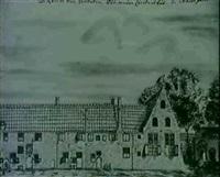 vue du prinsenhof de la schoolstraat a delft by willem van der lelie