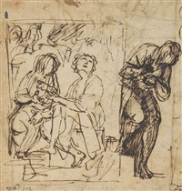 the denial of saint peter, with a subsidiary study for the same (recto); further studies for the same composition (verso) by cavaliere giovanni baglione