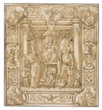 design for a banner: the madonna and child enthroned, flanked by two saints, st. george on the right, the four evangelists at the corners, part of a decorative border by antonio vassilacchi
