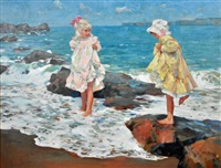 two girls on a rocky shore by dianne flynn