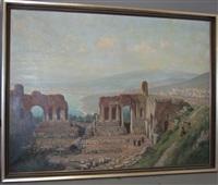 blick vom antiken theater von taormina auf den ätna by rudolf weber