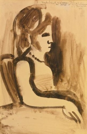 femme assise profil by georges rouault