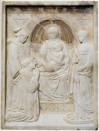 madonna con bambino in trono tra i santi lorenzo e caterina d'alessandria e il donatore by luca della robbia