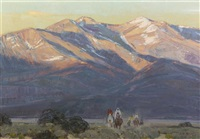 sunset on taos mountains by john moyers
