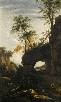 an italianate landscape (+ a coastal landscape; pair) by willem von bemmel