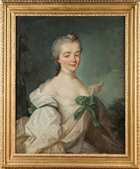 portrait de femme au collier de perles by louis richard françois dupont
