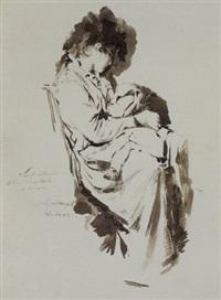 figura femminile seduta, che allatta un bambino by natale attanasio
