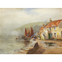 coastal village scene by william st. thomas smith