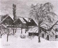 abendstimmung uber verschneitem dorf by n. c. ammann