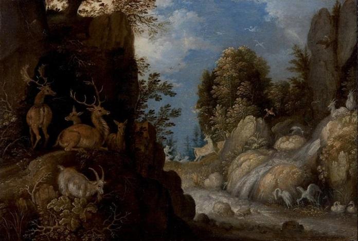paysage de cascades avec une harde de cerfs by roelandt savery
