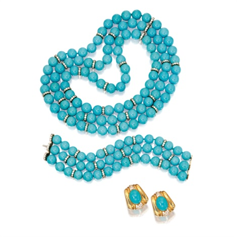 a suite of jewelry including a triple-strand necklace, bracelet and a pair of earclips (set of 3) by tallarico (co.)
