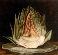an artichoke on a platter by paul karslake