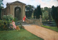 the palladian bridge, wilton by john lavery