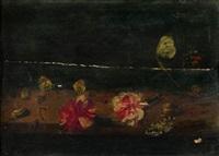 fleurs et d'insectes sur un entablement (study) by frans ykens