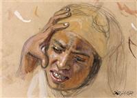 etude d'un visage de jeune fille (study) by alphonse etienne dinet
