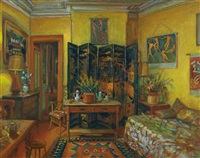 yellow room, evening by margaret hannah olley