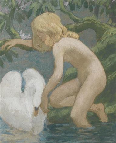 jeune fille au cygne by jean francis auburtin