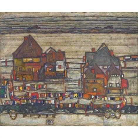 häuser mit bunter wäsche (vorstadt ii) (houses with laundry (suburb ii)) by egon schiele