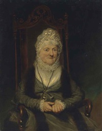 portrait of a lady, seated half length, wearing a green dress and a ribbon bonnet with a looking glass by benjamin duterrau