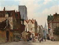 a market square, abbeville (+ another; pair) by simon van der ley