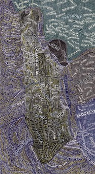 manhattan at night by paula scher