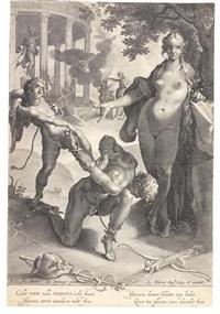 merkur von venus und amor gefesselt (after bartholomäus spranger) by lukas kilian