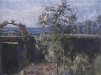 vue de la vallée de l'yerres et du jardin de la propriété familiale de l'artiste by gustave caillebotte