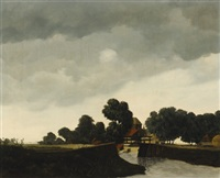 landscape with bridge by elbert hooijberg