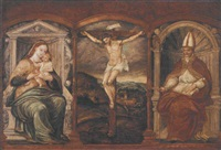 the crucifixion, flanked by the virgin and child enthroned and a bishop saint by pedro campana