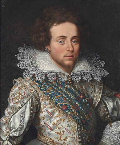 portrait of a gentleman, traditionally identified as maximilien, marquis of rosny (1587-1634), half-length, in a slashed and gold-embroidered doublet... by frans pourbus the younger