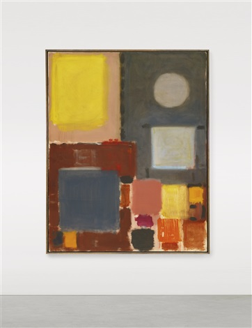 grey and yellow with circle october february by patrick heron