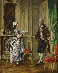 amoureuze ontmoeting van twee dienstboden by l. benesch