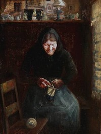 interior with a knitting woman by anna kirstine ancher