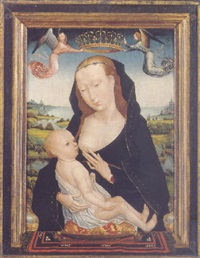 the virgin and child in a landscape by simon marmion