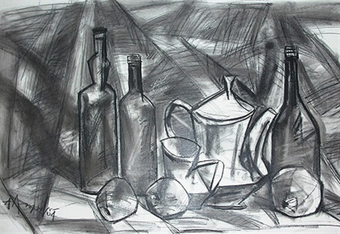 jugs bottles and fruits i by km adimoolam
