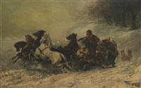 wolf hunt by adolf schreyer