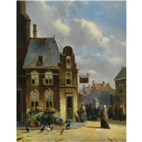 a lively townscene by joseph bles