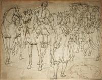 etude d'un groupe de cavaliers contre-épreuve de by adam frans van der meulen
