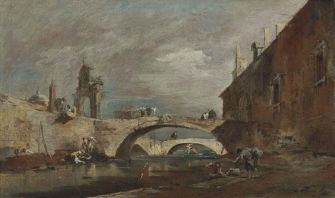 capriccio with bridges over a canal by francesco guardi