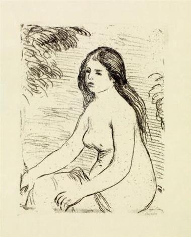 femme nue assise by pierre auguste renoir