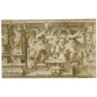 design for a decorative frieze with allegorical figures of geometry and astronomy by giovanni alberti