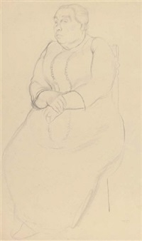 seated woman with a necklace by dorothy hepworth