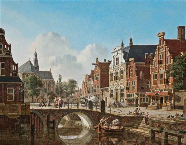 a busy canal utrecht by jan hendrik verheyen